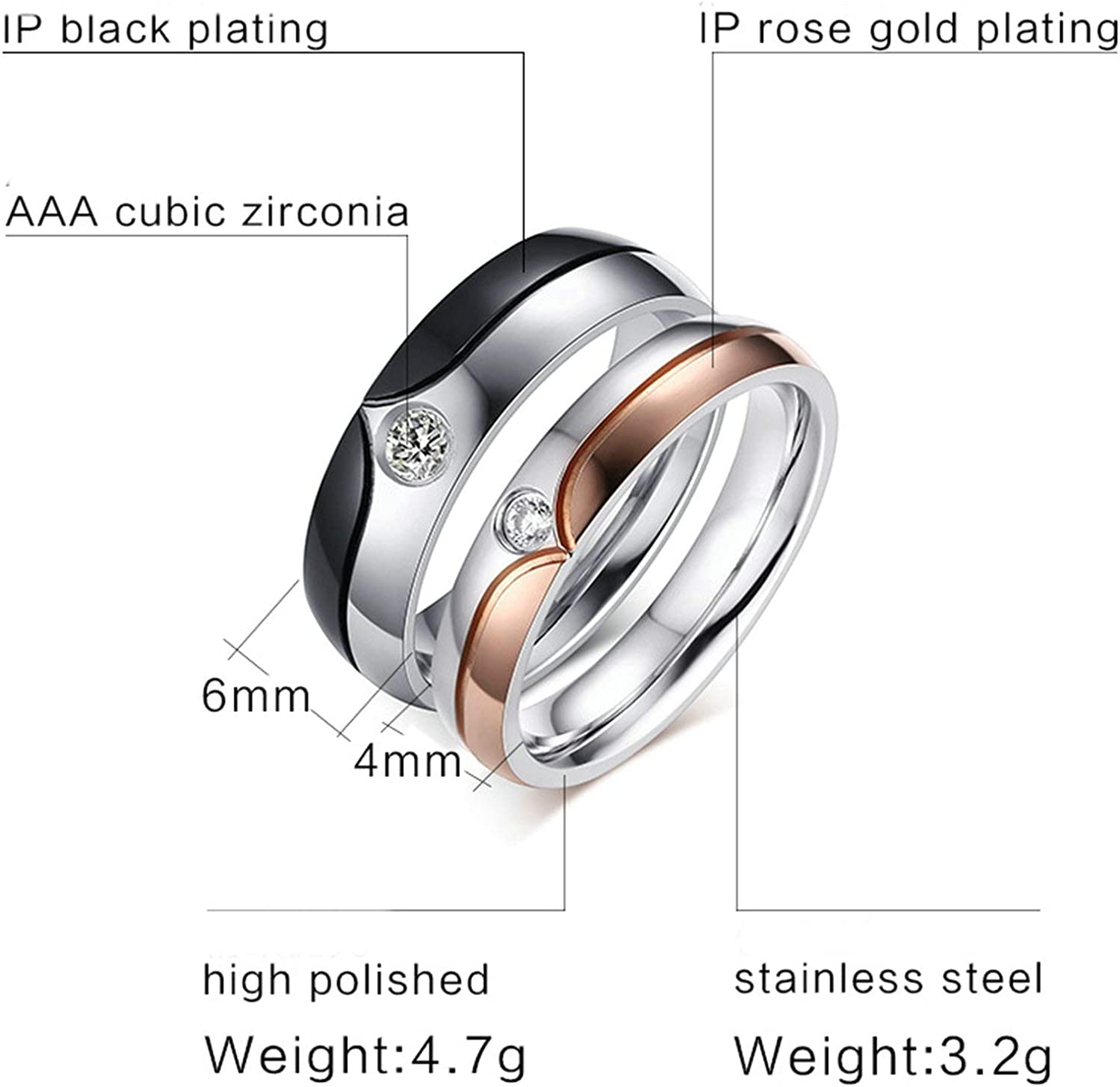 AMDXD Jewelry Couple Ring Tungsten Heart Round Zirconia Black Men Rings Stainless Steel 6 MM,Single Sale