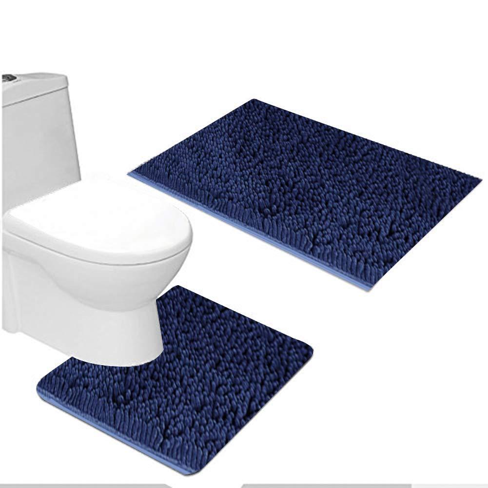 MAYSHAG 2 Piece Bathroom Rug Set Shaggy Bathroom Contour Rugs Combo, Soft Chenille Bath Shower Mat 20 x 32 Inches U-Shaped Toilet Floor Rug Navy Blue 20 x 20 Inches