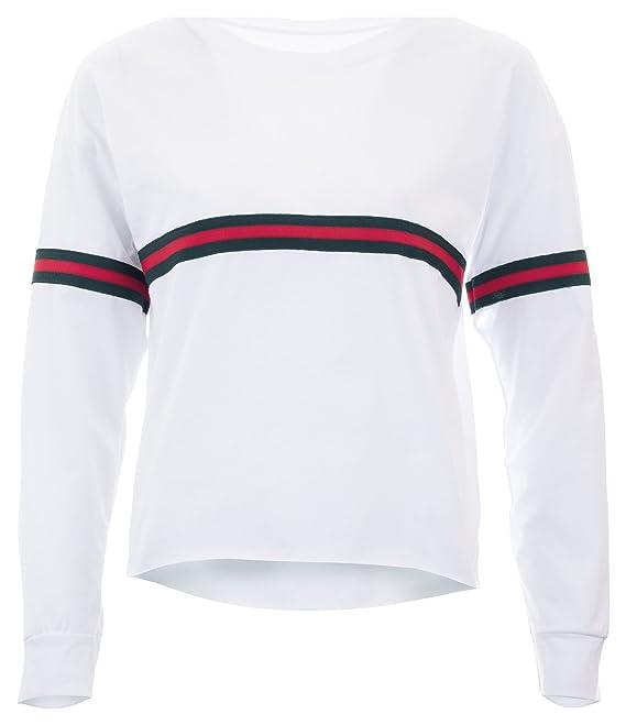 db0b767421d5 Crop Sweater Cropped Top Damen Stripes Sweatshirt bauchfrei Streifen  Oberteil Logo Weiß M L  Amazon.de  Bekleidung
