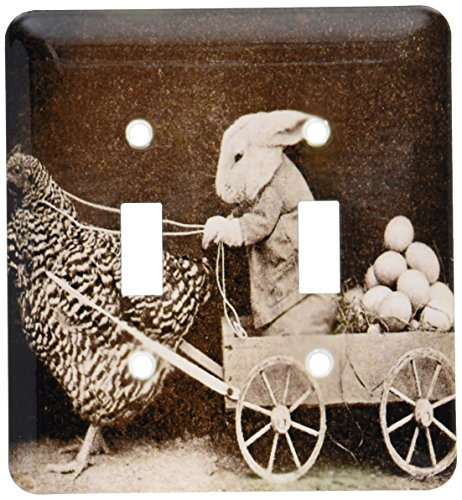 (3dRose lsp_37253_2 Victorian Photo Rooster Pulling Bunny Double Toggle Switch )