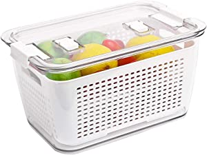 Refrigerator Organizer Bins | Produce Saver, Fresh Produce Vegetable Fruit Storage Containers with Vented Lids, BPA-free Fridge Storage Containers, Used in Fridge, Freezer, and Kitchen