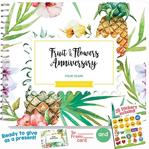 4th Wedding Anniversary Gift For Couples – Four Years Memory Journal for Husband or Wife   Fruits and Flowers Anniversary Booklet with love quotes and frames to add your pictures for him or her