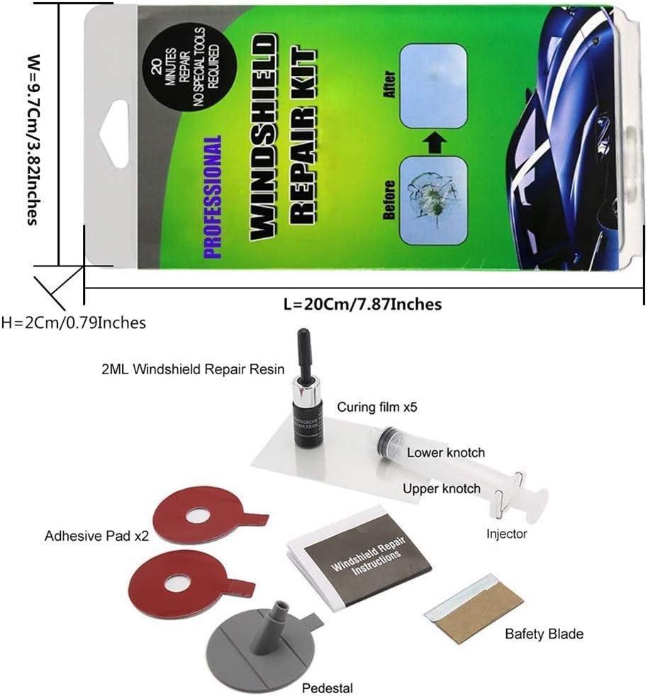 Parkomm Auto Parabrisas Kit de reparación, Juego de reparación de Parabrisas Auto Cristal DIY Tools Juego de reparación para Chips y Grietas, de Bulls Eye Bombilla, Estrella, Media Luna Media Luna: Amazon.es: