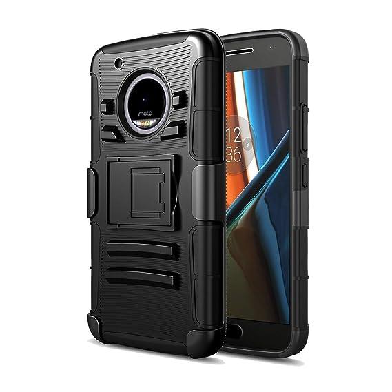 70b4a45786d DreamWireless Funda Case con Clip para Motorola Moto G5, Triple Protector  de Plástico para Uso Rudo, Color Negro: Amazon.com.mx: Electrónicos