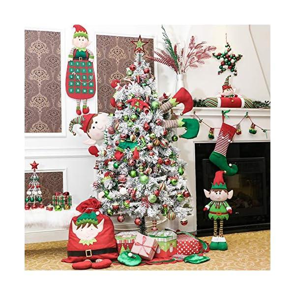 Victor's Workshop Addobbi Natalizi 16 Pezzi 8cm Palle di Natale, Delightful Elf Red Green And White Infrangibile Palla di Natale Ornamenti Decorazione per la Decorazione Dell'Albero di Natale 7 spesavip