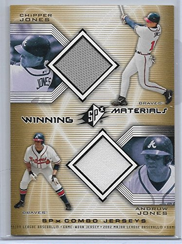 (2002 SPX Baseball Chipper Jones-Andruw Jones Winning Materials Dual Jersey Card)