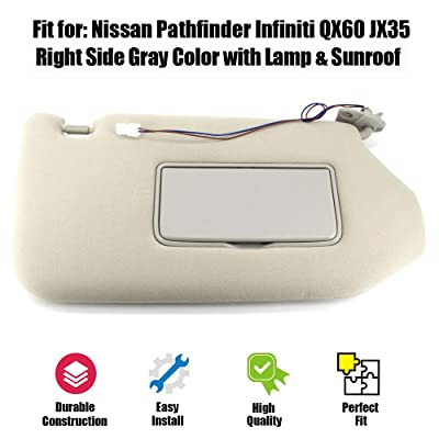 Sun Visor Right Passenger Side with Lamp Fit for 13-18 Nissan Pathfinder,14-17 Infiniti QX60,13 Infiniti JX35 Replacement Part # 96400-9PB0A with Sunroof: Automotive