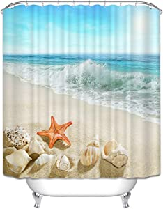 Beach Shower Curtain, Ocean Seascape Shell Shower Curtain, 72 x 72 Inches Set with 12 Hooks, Coastal Beach Themed Creativity Design, Waterproof Washable Polyester Home Bathroom Decor