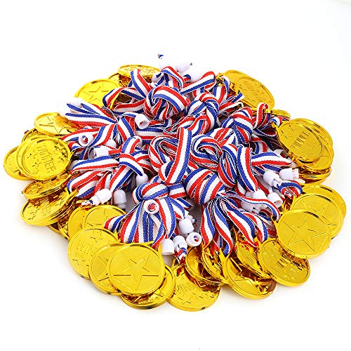 Caydo 150 Pcs Kids Children's Gold Plastic Winner Award Medals ()
