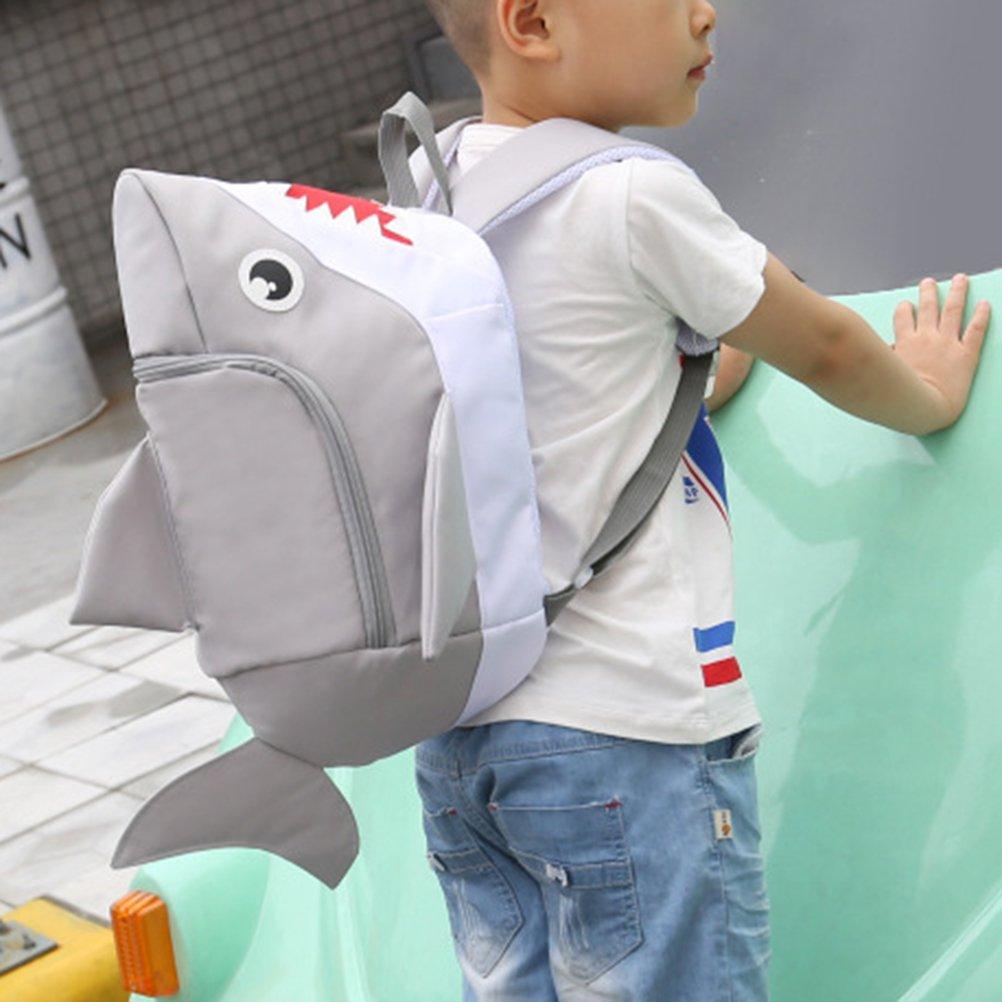 7f21e15e08 OULII Kids Shark Backpack 3D Animal School Bag (Grey)  Amazon.co.uk  Luggage