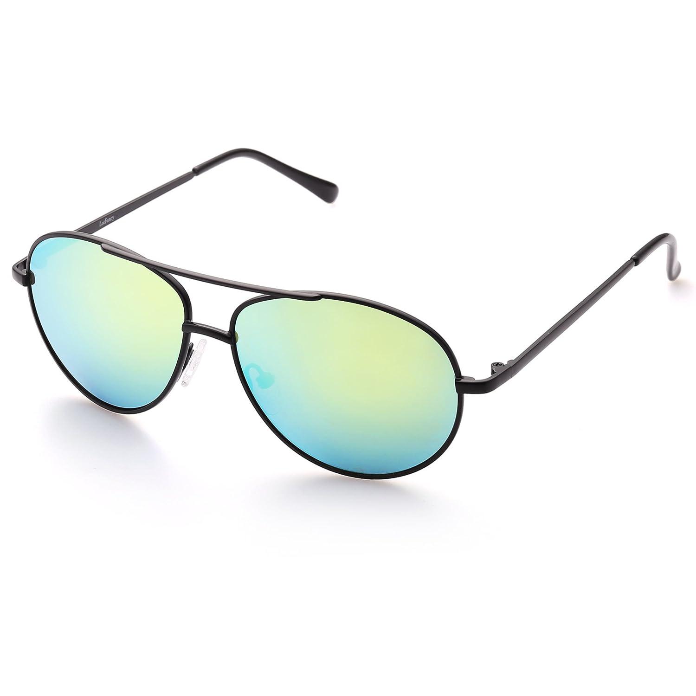 LotFancy Aviator Sunglasses for Kids, Metal Frame, Ultralight, UV Protection, FDA Approved Gold Metal Frame Brown Lens Lightweight 10C-1463-G
