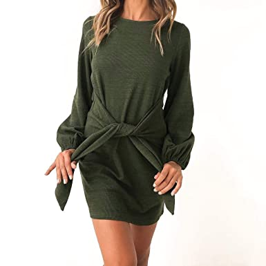 00d41379fb Image Unavailable. Image not available for. Color  travel ants Fashion  Women s Lantern Long Sleeve Casul to Work Simple Dress