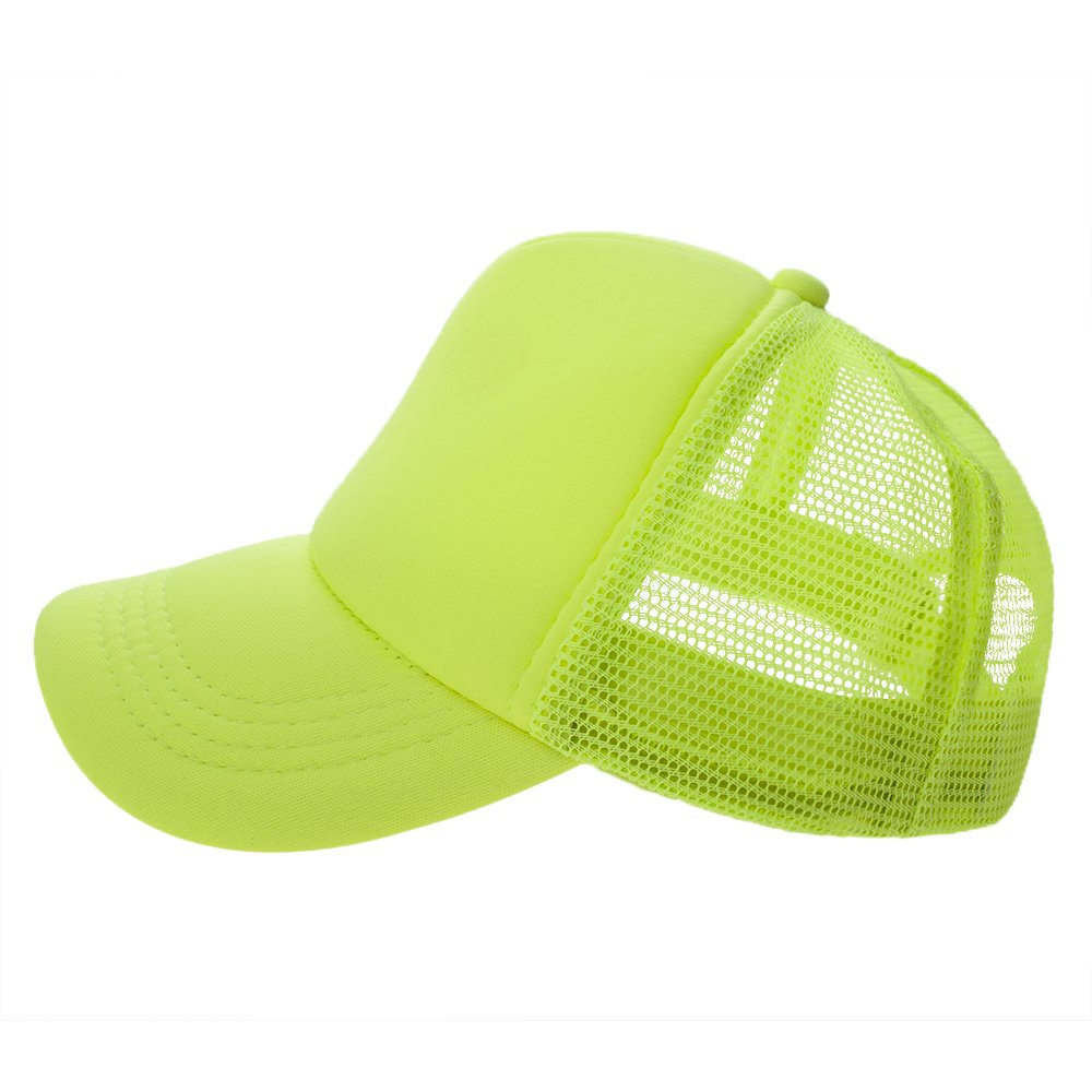 Opromo Summer Mesh Trucker Hat with Adjustable Snapback Strap Neon Baseball Cap-Neon Pink/White-24piece by Opromo (Image #2)