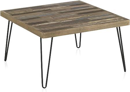 D.G. Quality Mobles - Mesa de Centro Fabricada en Madera de Pino Reciclado con Patas metálicas. Medidas: 71 x 71 cm, Altura 37,5 cm, Grosor Tablero 4 cm.: Amazon.es: Hogar