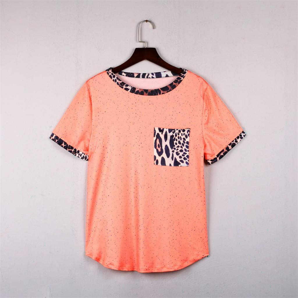 Womens Short Sleeve Tee - On Sale Fashion Pocket Leopard Dot Print Summer Casual Loose Breathable Blouse Top by Dacawin-Women Tops (Image #7)