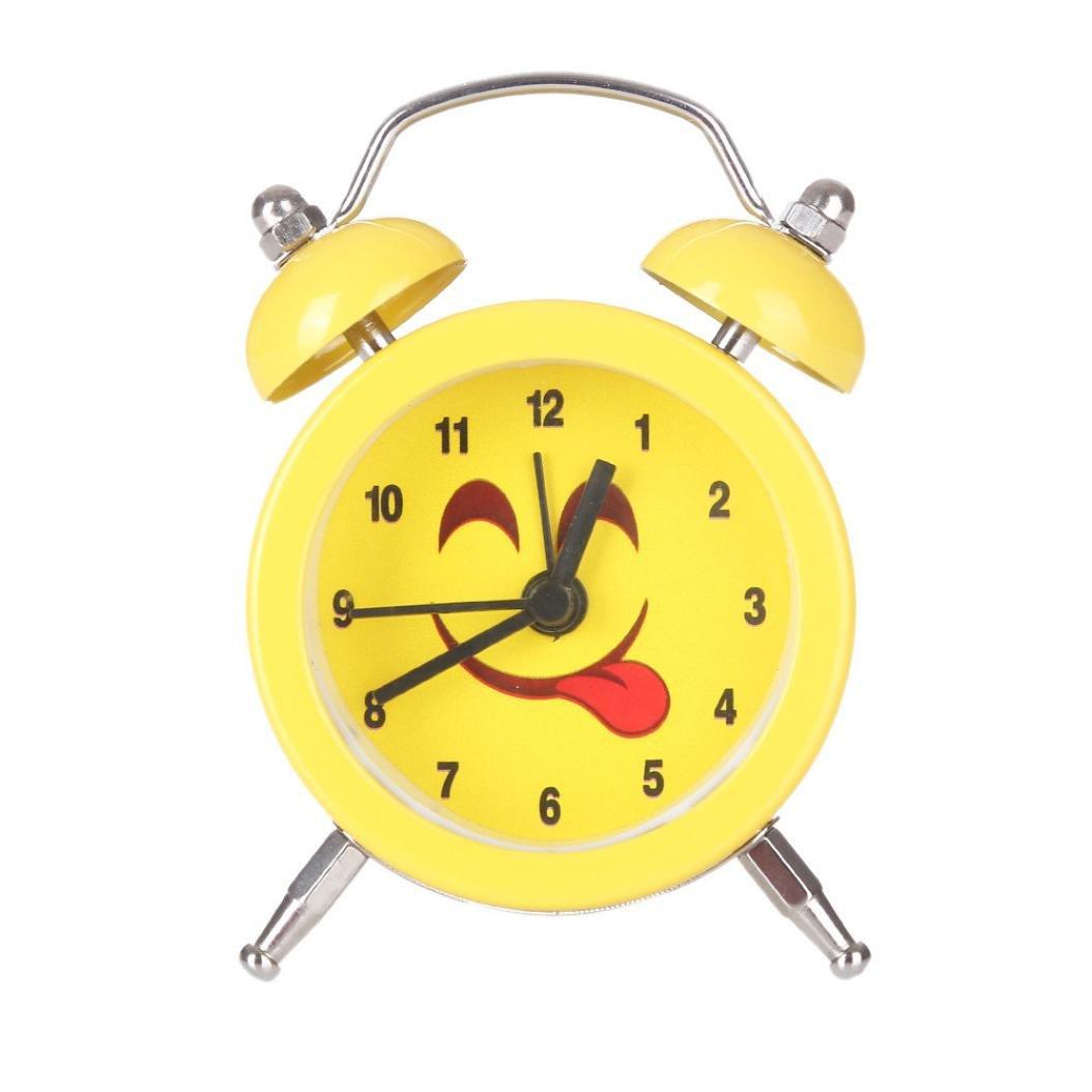 Alarm Clock,CieKen Emoji Emoticon Twin Bell Silent Alloy Stainless Metal Alarm Clock (Pattern D)