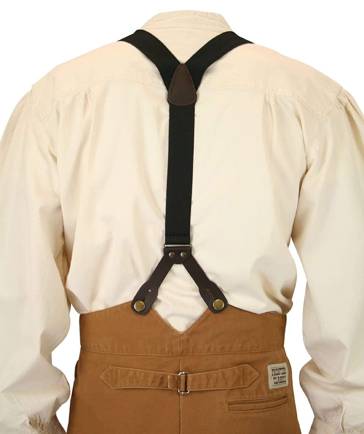 Men's Steampunk Goggles, Guns, Gadgets & Watches Historical Emporium Mens Canvas Stagecoach Y-Back Suspenders $27.95 AT vintagedancer.com