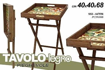 Tisch Beistelltisch Aus Holz Klappbar Mit Tablett Boden Verziert 40