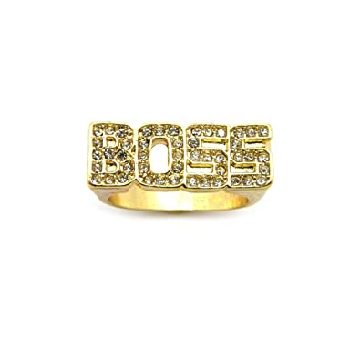 unisex iced out boss word size ring in gold tone plated 8 9 10