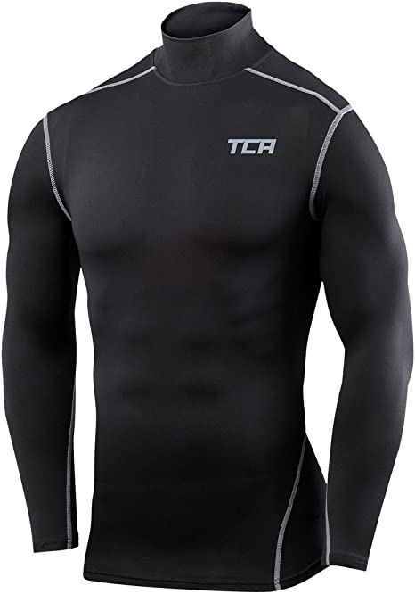 Mens Compression Mock Neck Base Layer Long Sleeve Shirt Top Training Workout Gym