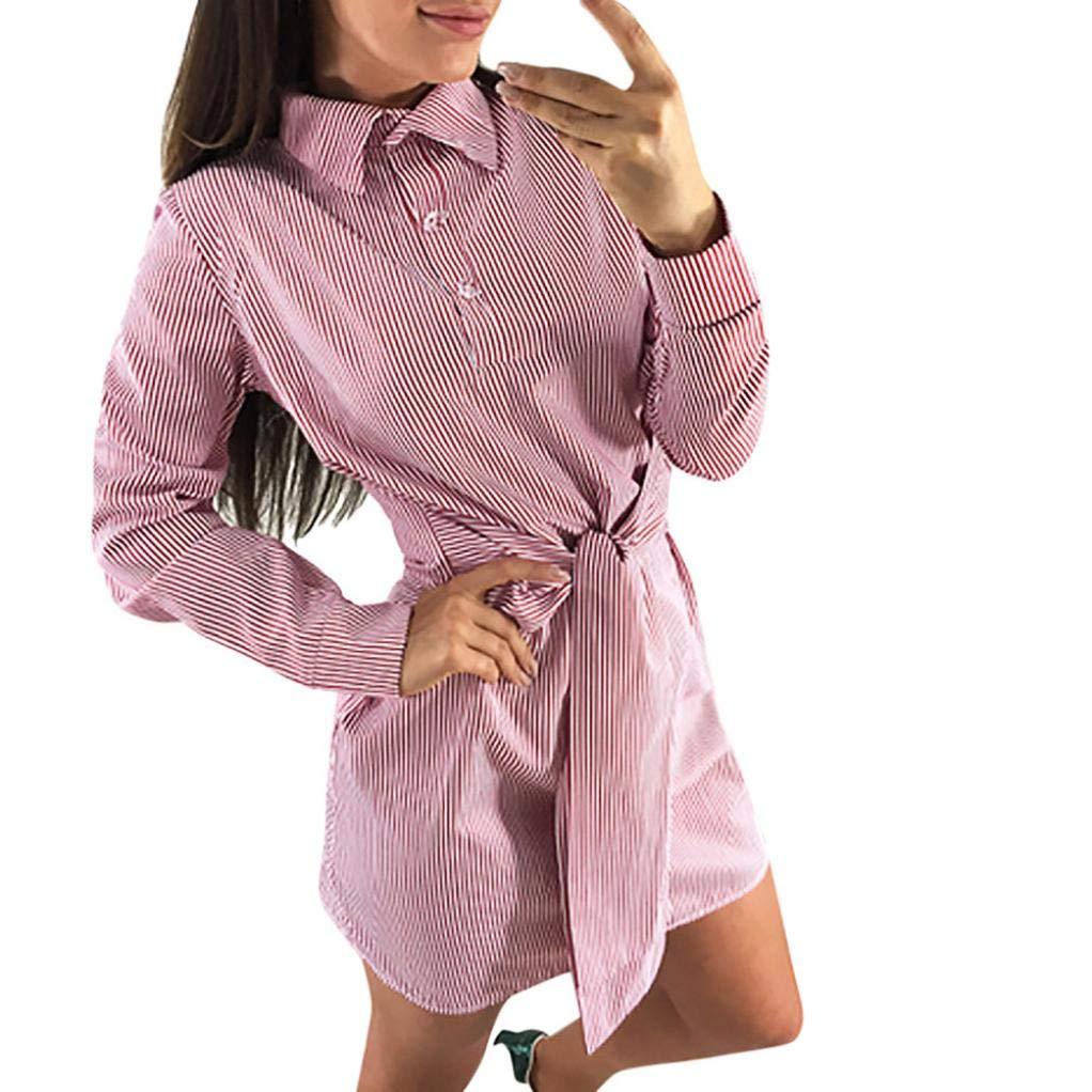 BBestseller-Vestidos Fiesta Vestir Ropa Falda Mujer Otoño Largo de la Manga del Vestido del Arco del Estampado de Rayas del Vendaje del Arco de la Manga de ...