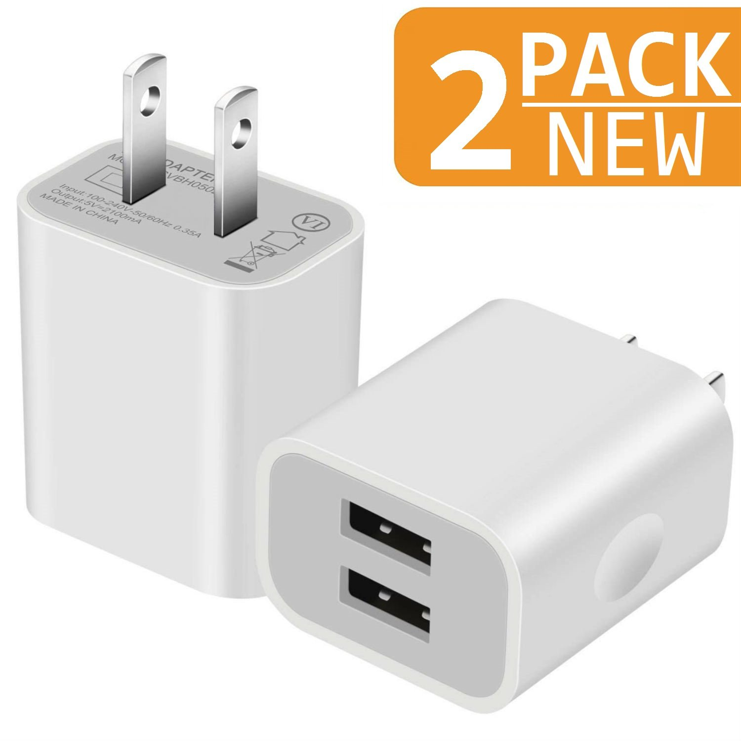 Charger, 2.1A/5V Dual 2-Port USB Plug Wall Charger Plug Power Adapter Fast Charging Cube (White) 2-Pack