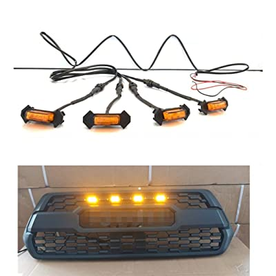 HONGKINGBO 4pcs Grill Lights Amber LED Fits for Toyota Tacoma TRD PRO Grille 2016 2020 2020,with The Wiring Harness: Automotive