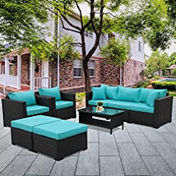 Garden and Outdoor Patio Wicker Furniture Set 6 Pieces Outdoor PE Rattan Conversation Couch Sectional Chair Sofa Set with Turquoise Cushion patio furniture sets