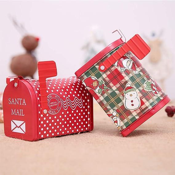 EisEyen Navidad ftalatos Cristal Alimentos Dep/ósito para Galletas Tarro Tarro de Cristal Caja latas de t/é Candy Tin Box