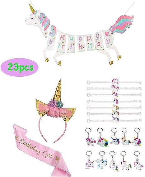 Amazon.com: Juego de felicitación de cumpleaños de unicornio ...