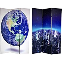 Oriental Furniture Global Globe Wall Map Large Size 6-Feet Tall Double Sided Earth Room Divider Folding Floor Privacy Screen