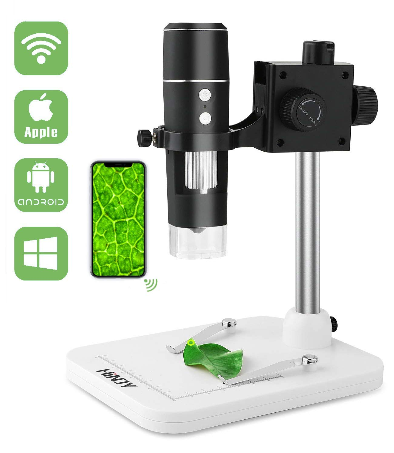 WiFi USB Microscope, HINOY Wireless Digital Mini Microscope Camera 2MP 1080p HD 50 to 1000x Magnification Students Endoscope for iPhone, Android, Windows & MAC Devices