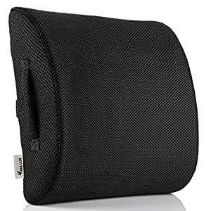 Lower Back Lumbar Support Pillow - Instant Back Pain Relief for Office Chair & Car Seat - Orthopedic Memory Foam Back Cushion for Improved Posture (Black)