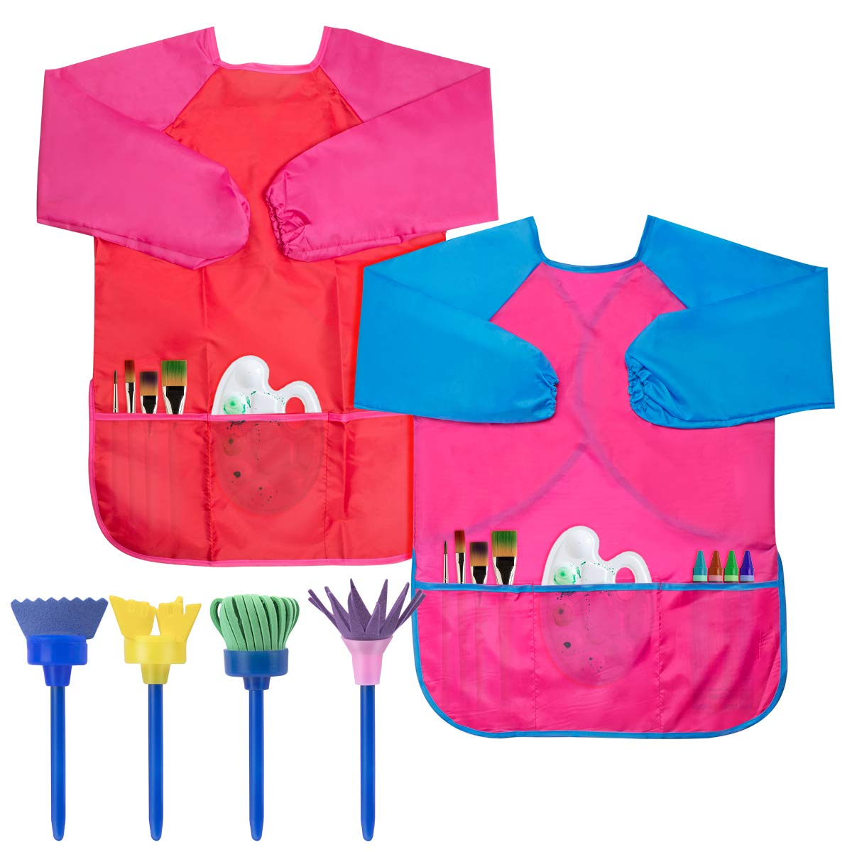Cubaco Kids Art Smock, 2 Pack Children Waterproof Artist Painting Aprons Long Sleeve with 4 Painting Tools for Art Craft Cooking Lab Activity - Ages 3-8