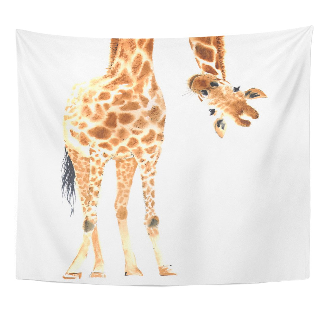 Emvency Tapestry Animal Realistic Giraffe Made in Watercolor Zoo Safari Hand Home Decor Wall Hanging for Living Room Bedroom Dorm 50x60 inches
