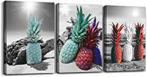 Black and white landscape Wall Art for living room Canvas Prints Artwork kitchen Wall Decor 3 Pieces Framed bedroom wall decorations pineapple Watercolor painting bathroom Home Decoration Pictures