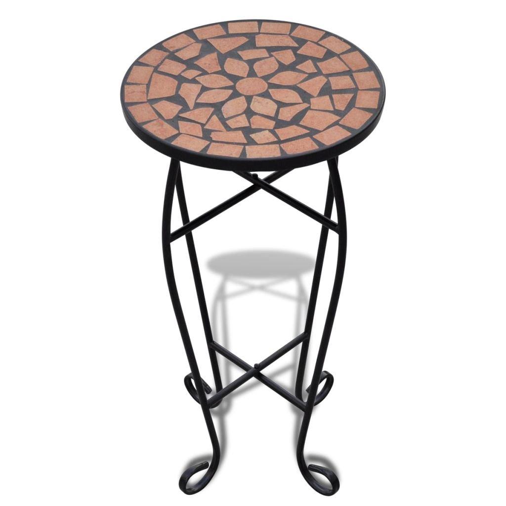 vidaXL Tavolino Laterale Piante Design Mosaico Terracotta Supporto Espositore