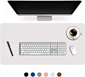 24 X 48 Inch Desk Blotter Pad on Top of Desks Waterproof PU Leather Mouse Pad Desk Writing Mat For Home Office Large Laptop Computer Gaming Under Keyboard Pad Desk Accessories for Women Men Kids White