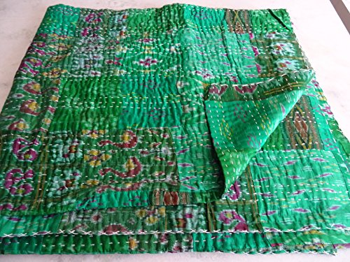 Tribal Asian Textiles Indian Quilt -Vintage Quilt Old Patola Indian Silk Sari Kantha Quilted Patchwork Bedspread Bohemian Kantha Throws, Gudari Handmade