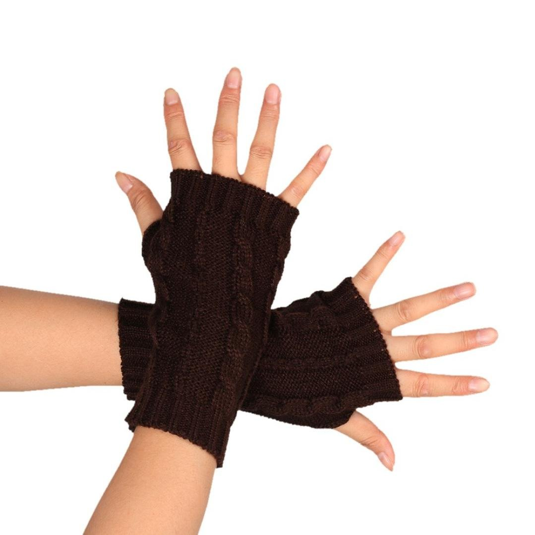 MalloomレディースファッションニットBraided腕手袋指なし親指穴Hand Warmerミトン B01LYVLAN0  コーヒー