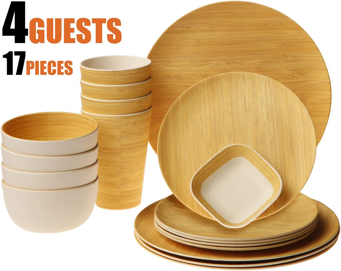 Earth's Dreams Reusable Bamboo Dinnerware Set for 4 Guest [17 Pieces] - Bamboo Fiber Tableware Set for Adult&Kids - Wooden Plates, Cups, Bowls, Square Saucer (Wood Grain)