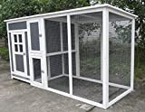 """ChickenCoopOutlet Large 78"""" Wood Frame Chicken Coop With Plastic Inserts Backyard Hen House 4-6 Chickens nesting box & Run"""