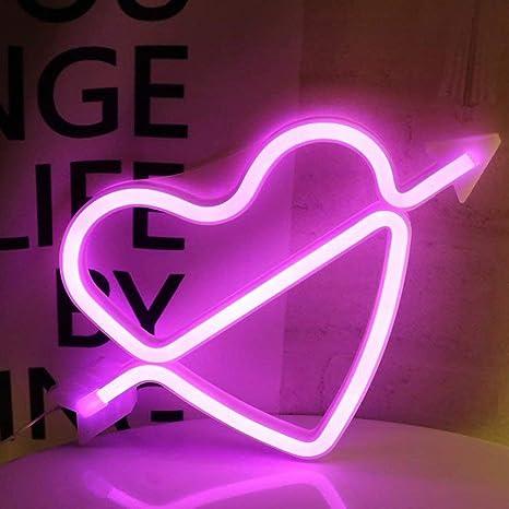 Aizesi Lampe Coeur Lumineux Led Coeur Lampe Neon Rose Lumiere Neon Cupidon Batterie Decoration Lumieres Pour Filles Chambre Salon Noel Coeur Cupidon