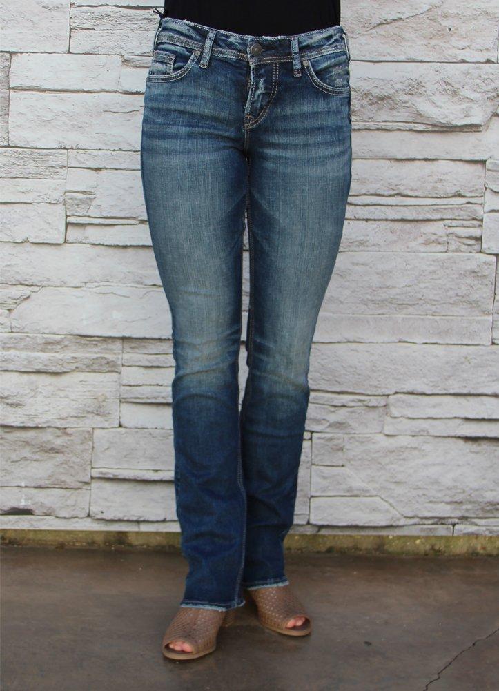 Silver Jeans Co. Women's Suki Curvy Fit Mid Rise Slim Bootcut Jeans,Medium Vintage,28X31