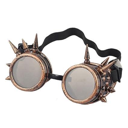 AOLVO Retro Vintage Victorian Steampunk Gafas de soldar Cyber Punk Gótico Cosplay, Cobre