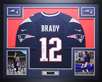 bf6fbc728 Tom Brady Autographed Blue Nike Patriots Jersey - Beautifully Matted and  Framed - Hand Signed By