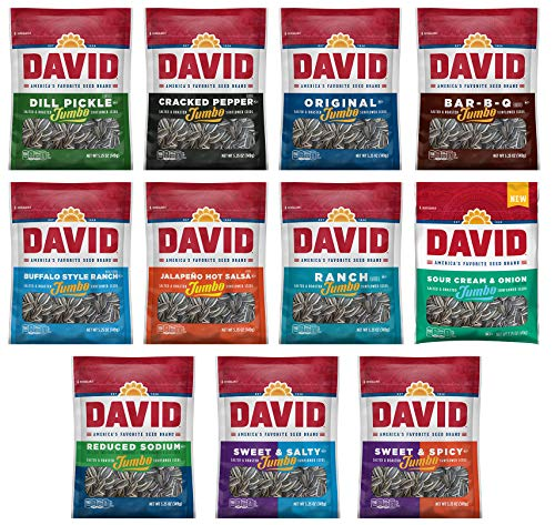 - Peaceful Squirrel Variety, DAVID Sunflower Seeds jumbo Variety of 11 Flavors - 5.25 Ounce