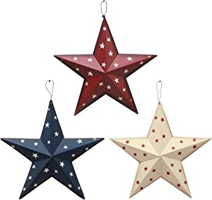 Patriotic Metal Barn Star Wall Decor Set of 3, 12'' Hanging Country Rustic Metal Star for July 4th Decoration (3 Pack)