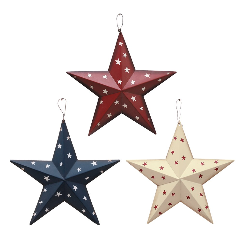 American Barn Star, Metal Patriotic Old Glory Americana Flag Barn Star Wall Decor for July of 4th Independence Day (Set of 3)