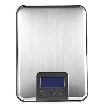 Báscula digital multifunción para cocina, 15 kg, capacidad para hornear con pantalla LCD retroiluminada: Amazon.es: Hogar